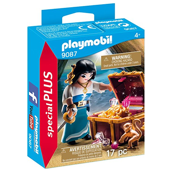 Playmobil 9087. Pirate woman with treasure chest.