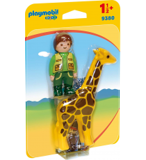 Playmobil 1.2.3. 9380. Guardian y jirafa.