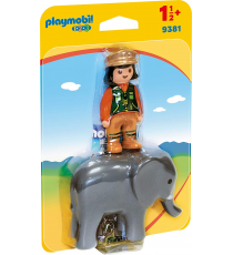 Playmobil 1.2.3. 9381. Guardian y elefante.