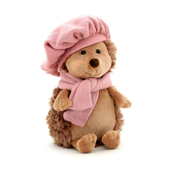 Orange Life Collection OS0603. Soft toy Hedgehog with hat and pink scarf 16cm