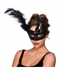 Black mask with feather 8500.