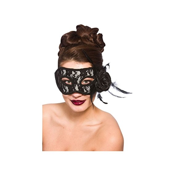 Black mask with rose and feather. 99699