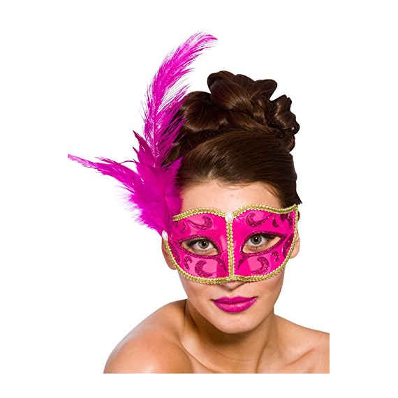 Pink mask with feather 9729.