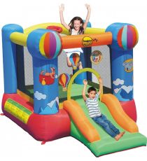 Happy Hop 9070N. Castillo Hinchable: Hot Air Balloon Slide and Hoop Bouncer.