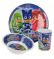 PJ Masks 01990. Stor 3pzs meal set, plate, bowl and glass.