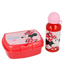 Disney 18863. Lunch box and aluminum bottle. Minnie Mouse Design.