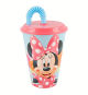 Minnie Mouse. 23730. Glass with lid and cane 430ml.