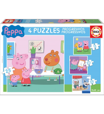 Peppa Pig - Progressive Puzzle 12-16-20-25 pieces