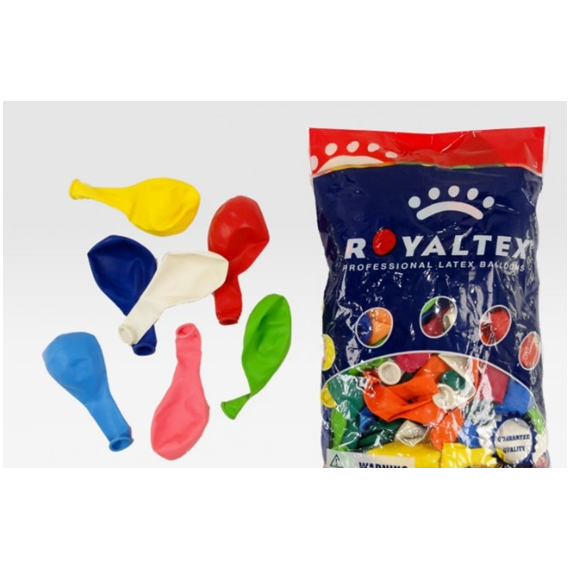 Royaltex. Bag of 100 Balloons. Assorted colors.