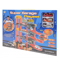 Super Garage Playset 540790425. Parking and three cars. Random model.