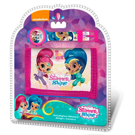 Shimmer & Shine SH17025. Set reloj digital y billetera.