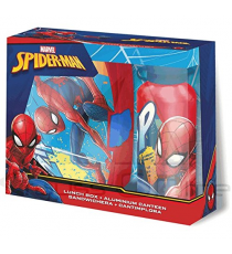 Spiderman MV15371. Lunch box set and aluminum flask.