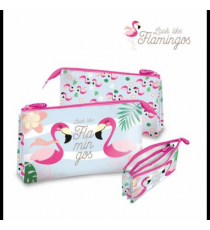 Look like flamingos KL10144. Estuche cremallera triple.